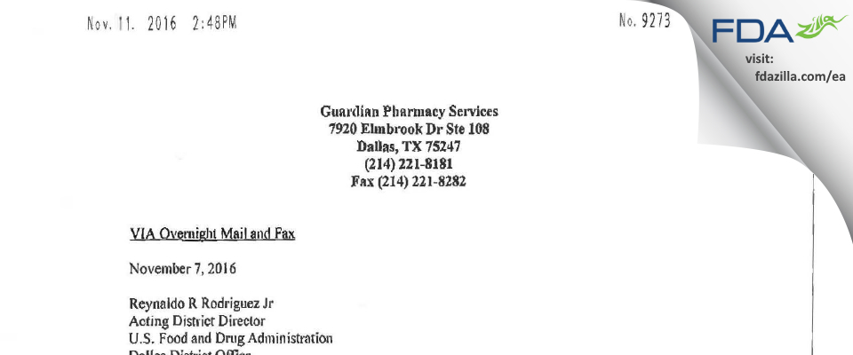 Guardian Pharmacy Services FDA inspection 483 Oct 2016