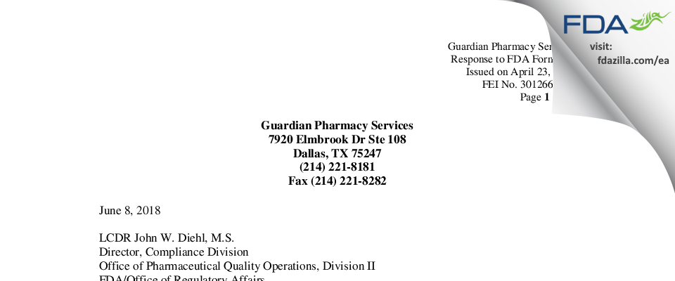 Guardian Pharmacy Services FDA inspection 483 Apr 2018