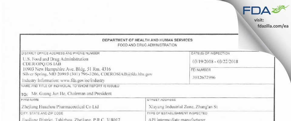 Zhejiang Huazhou Pharmaceutical FDA inspection 483 Mar 2018