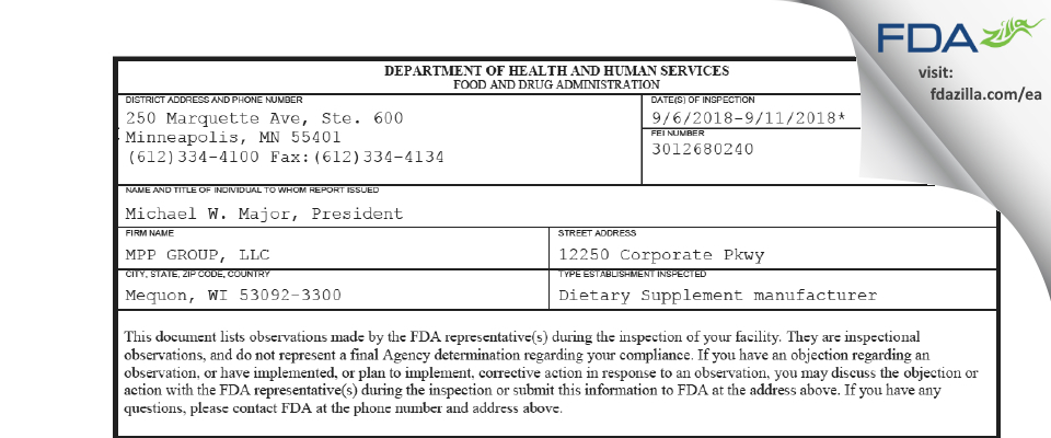 MPP GROUP FDA inspection 483 Sep 2018