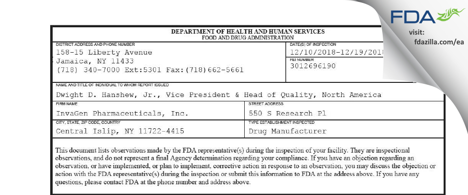 InvaGen Pharmaceuticals FDA inspection 483 Dec 2018