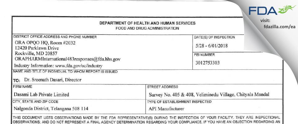 Dasami Lab Private FDA inspection 483 Jun 2018