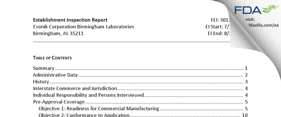 Evonik FDA inspection 483 Aug 2018