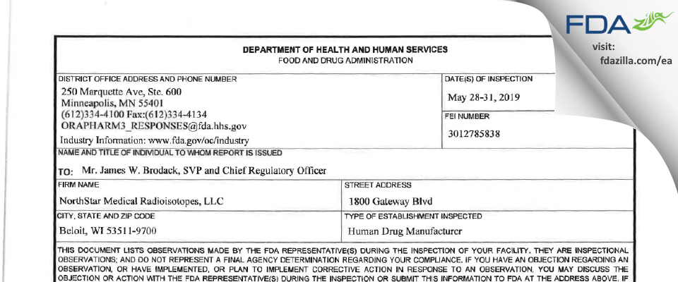 NorthStar Medical Radioisotopes FDA inspection 483 May 2019