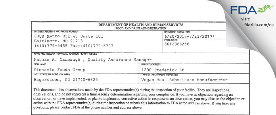 Pinnacle Foods Group FDA inspection 483 Jul 2017