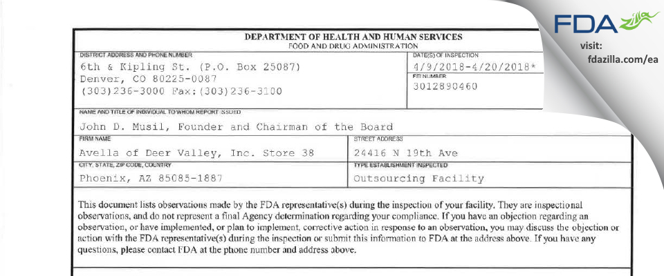 Avella of Deer Valley Store 38 FDA inspection 483 Apr 2018