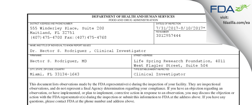 Hector S. Rodriguez, MD FDA inspection 483 Aug 2017