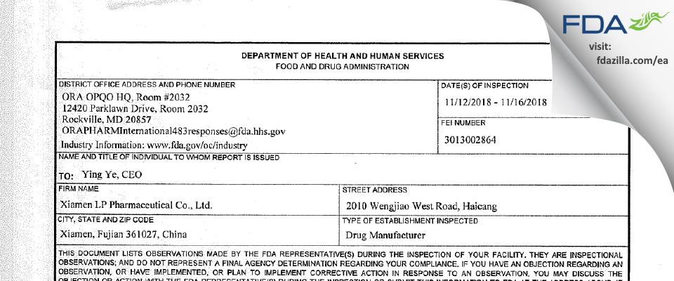 Xiamen LP Pharmaceutical FDA inspection 483 Nov 2018