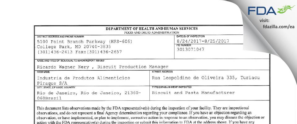 PIRAQUE FDA inspection 483 Aug 2017