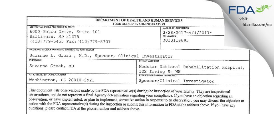 Suzanne Groah, MD FDA inspection 483 Apr 2017