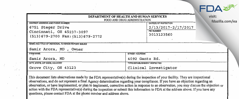 Samir Arora, MD FDA inspection 483 Feb 2017