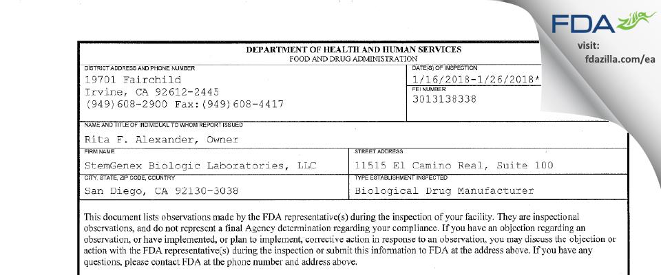 StemGenex Biologic Labs FDA inspection 483 Jan 2018