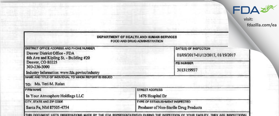 In Your Atmosphere Holdings FDA inspection 483 Jan 2017