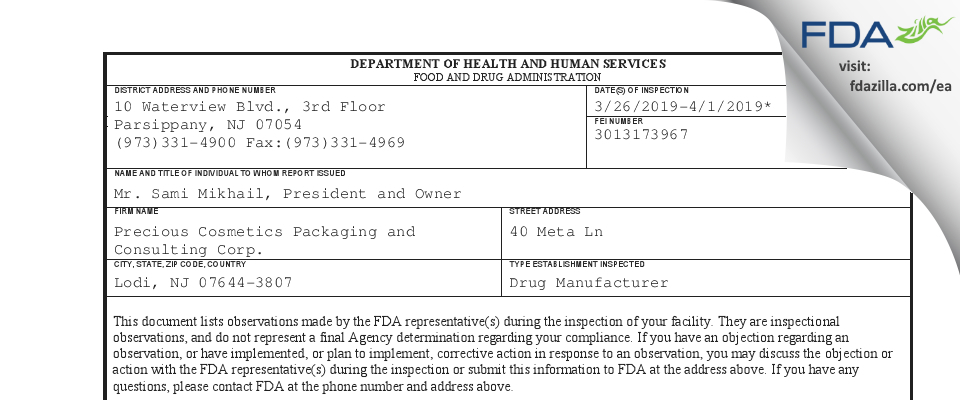 Precious Cosmetics Packaging and Consulting FDA inspection 483 Apr 2019