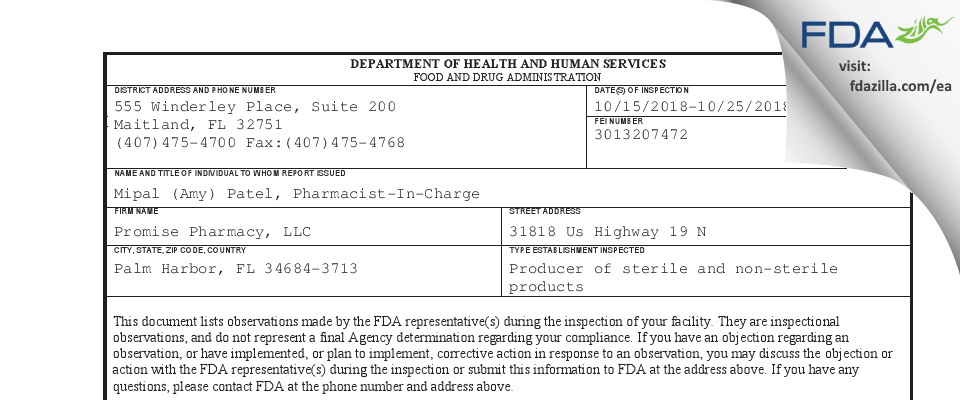 Promise Pharmacy FDA inspection 483 Oct 2018
