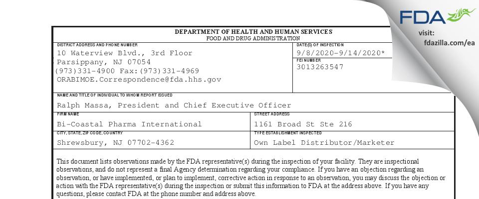 Bi-Coastal Pharma International FDA inspection 483 Sep 2020