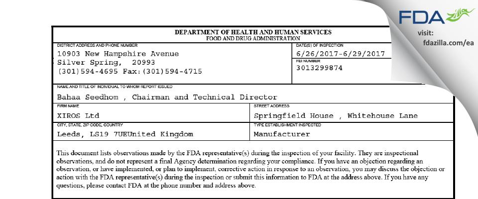 XIROS FDA inspection 483 Jun 2017