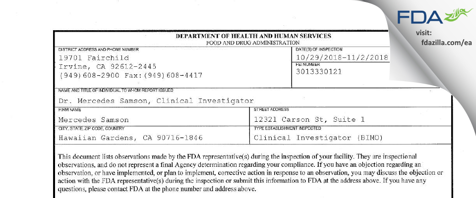 Mercedes Samson FDA inspection 483 Nov 2018