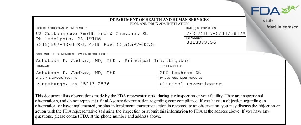 Ashutosh P. Jadhav, MD, PhD FDA inspection 483 Aug 2017