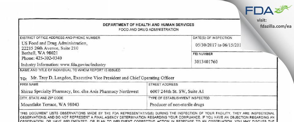 Shiraz Specialty Pharmacy dba Axis Pharmacy Northwest FDA inspection 483 Jun 2017