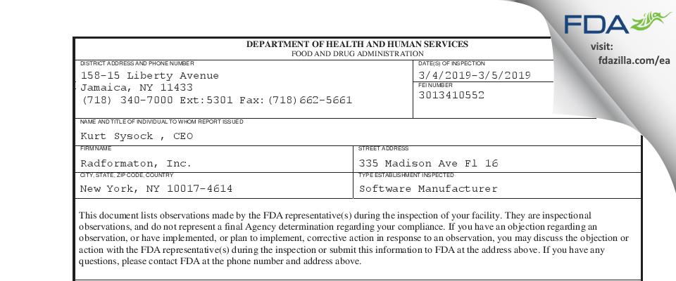 Radformaton FDA inspection 483 Mar 2019