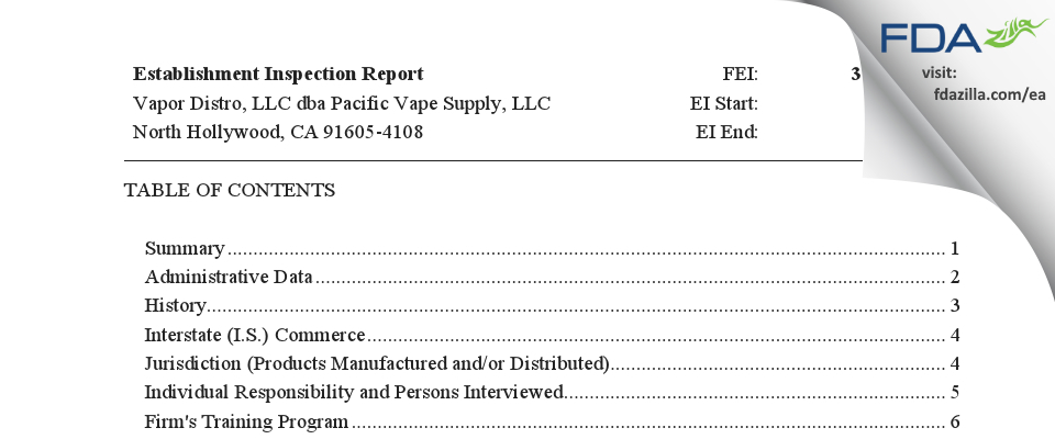Vapor Distro dba Pacific Vape Supply FDA inspection 483 Feb 2019