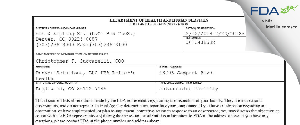 Denver Solutions DBA Leiter's Health FDA inspection 483 Feb 2018