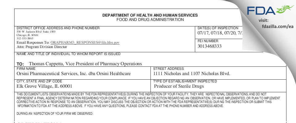 Orsini Pharmaceutical Services FDA inspection 483 Jul 2018