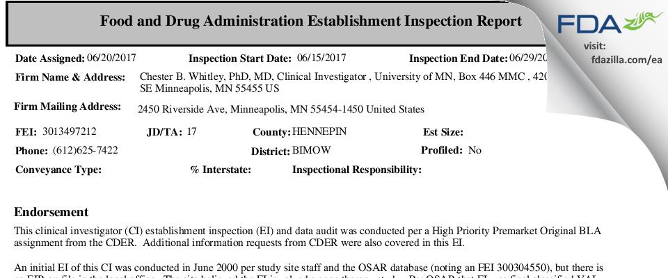 Chester Whitely FDA inspection 483 Jun 2017