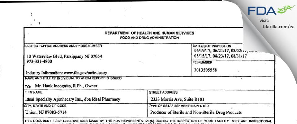 Ideal Specialty Apothecary dba Ideal Pharmacy FDA inspection 483 Aug 2017