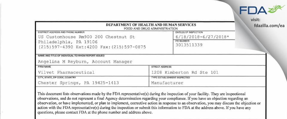 Vilvet Pharmaceuticals FDA inspection 483 Jun 2018
