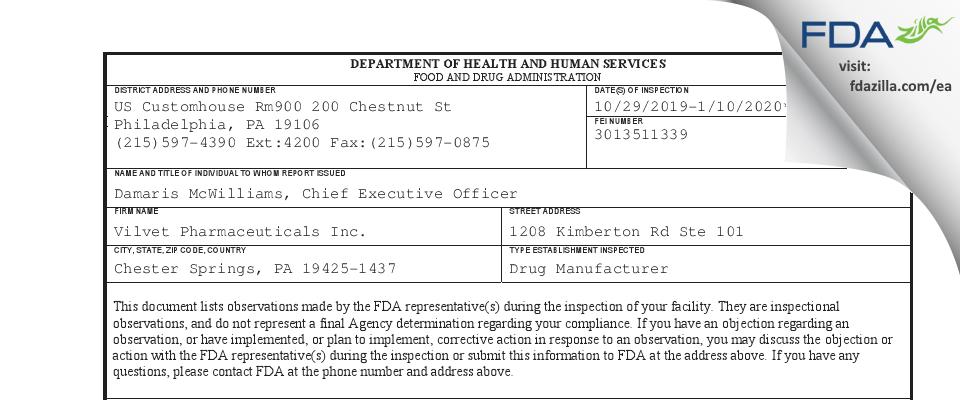 Vilvet Pharmaceuticals FDA inspection 483 Jan 2020