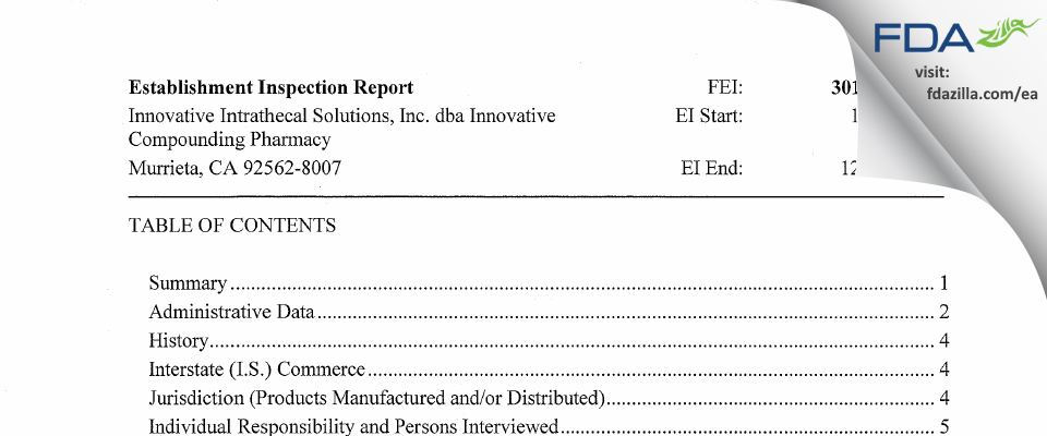 Innovative Intrathecal Solutions dba Innovative Compou FDA inspection 483 Dec 2017