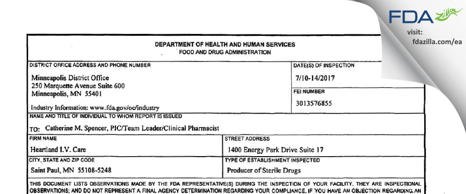 Heartland I.V. Care FDA inspection 483 Jul 2017