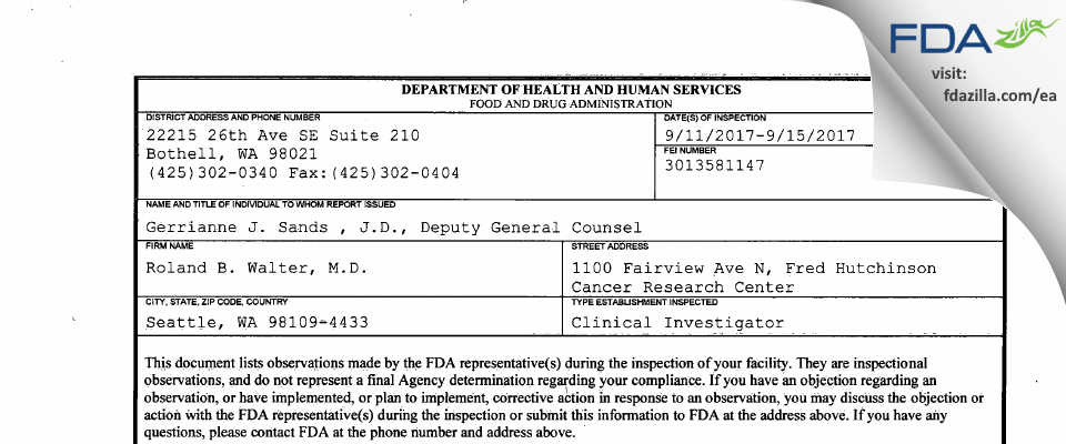 Roland B Walter MD FDA inspection 483 Sep 2017