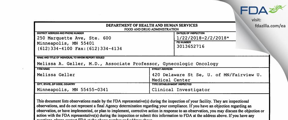 Melissa Geller FDA inspection 483 Feb 2018