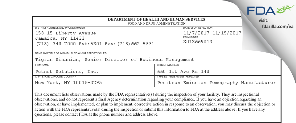 Petnet Solutions FDA inspection 483 Nov 2017