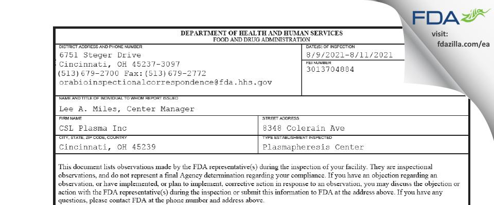 CSL Plasma FDA inspection 483 Aug 2021