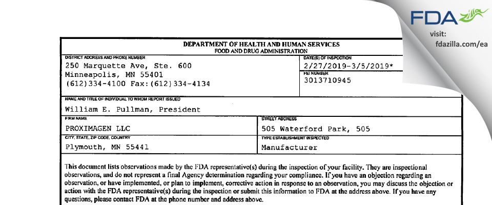 PROXIMAGEN FDA inspection 483 Mar 2019