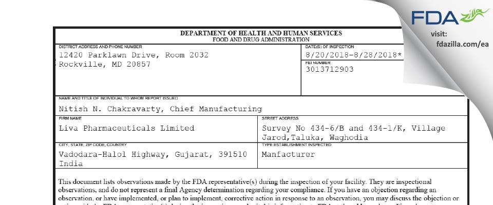 Liva Pharmaceuticals FDA inspection 483 Aug 2018