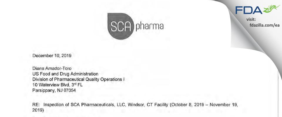 SCA Pharmaceuticals FDA inspection 483 Nov 2019