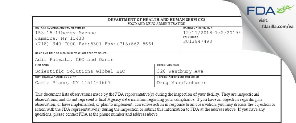 Scientific Solutions Global FDA inspection 483 Jan 2019