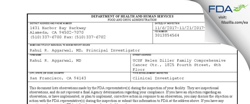 Rahul R. Aggarwal, MD FDA inspection 483 Nov 2017