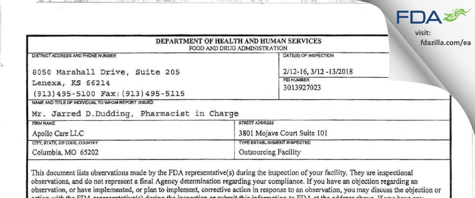Apollo Care FDA inspection 483 Mar 2018