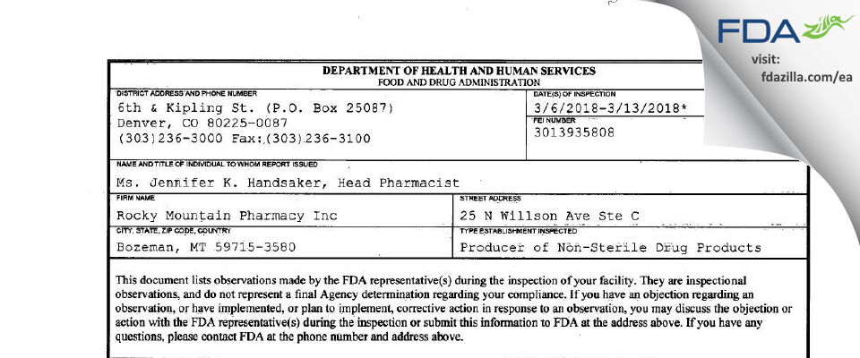 Rocky Mountain Pharmacy FDA inspection 483 Mar 2018