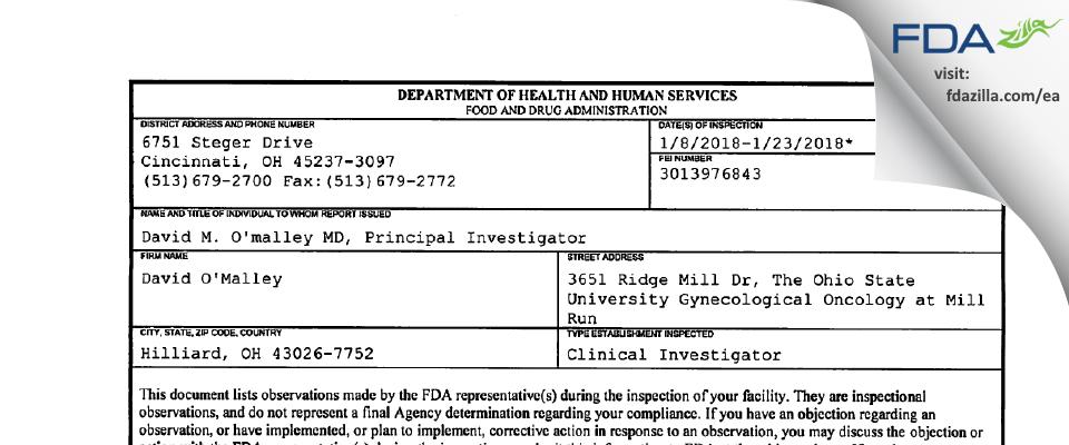 David O'Malley FDA inspection 483 Jan 2018