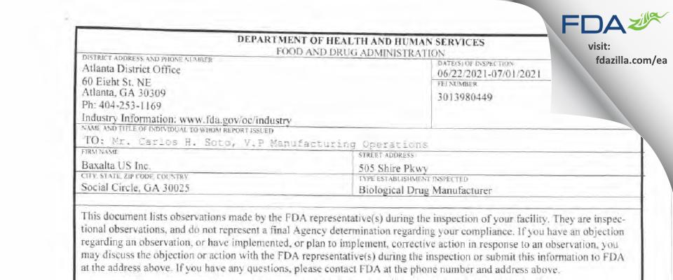 Baxalta US FDA inspection 483 Jul 2021