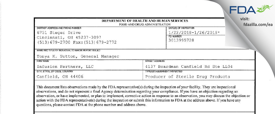 Infusion Partners FDA inspection 483 Jan 2018