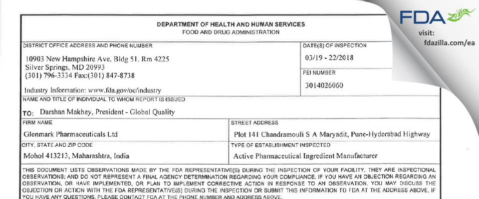 Glenmark Pharmaceuticals FDA inspection 483 Mar 2018