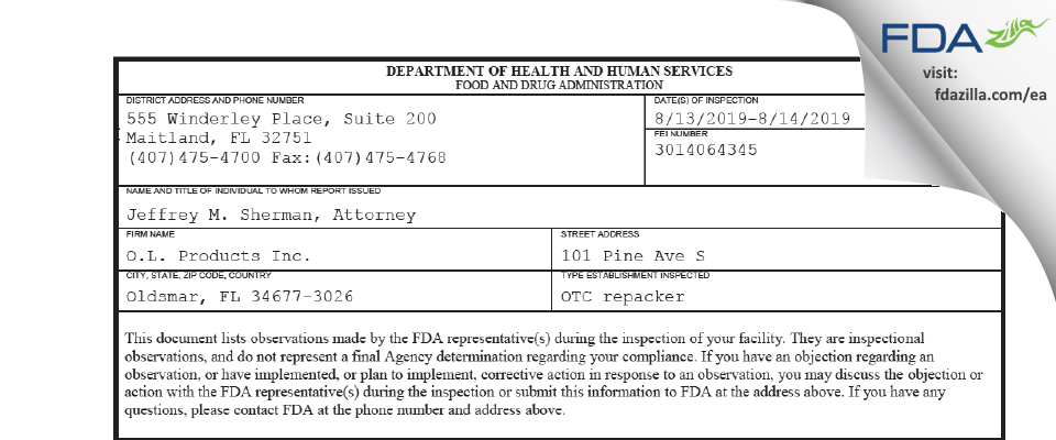 O.L. Products FDA inspection 483 Aug 2019